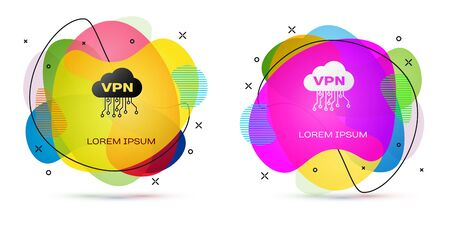 Color Cloud VPN interface icon isolated on white background. Software integration. Abstract banner with liquid shapes. Vector Illustration