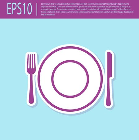 Retro purple Plate, fork and knife icon isolated on turquoise background. Cutlery symbol. Restaurant sign. Vector Illustration