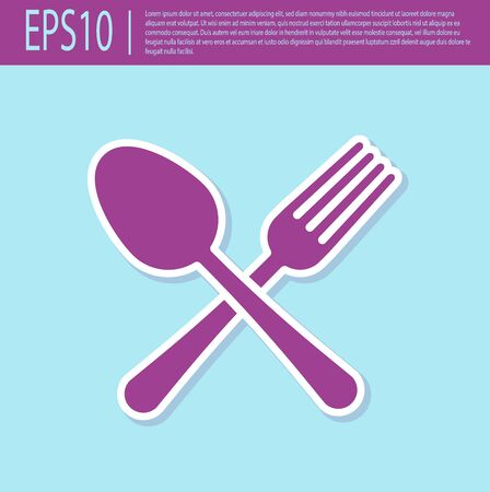 Retro purple Crossed fork and spoon icon isolated on turquoise background. Cooking utensil. Cutlery sign. Vector Illustration