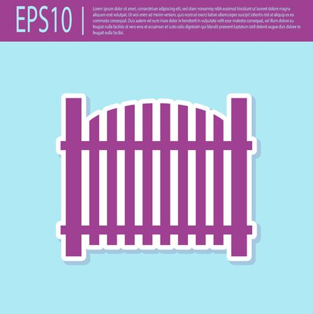 Retro purple Garden fence wooden icon isolated on turquoise background. Vector Illustration