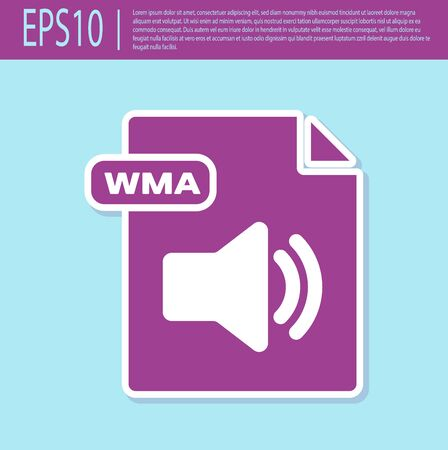 Retro purple WMA file document. Download wma button icon isolated on turquoise background. WMA file symbol. Wma music format sign. Vector Illustration