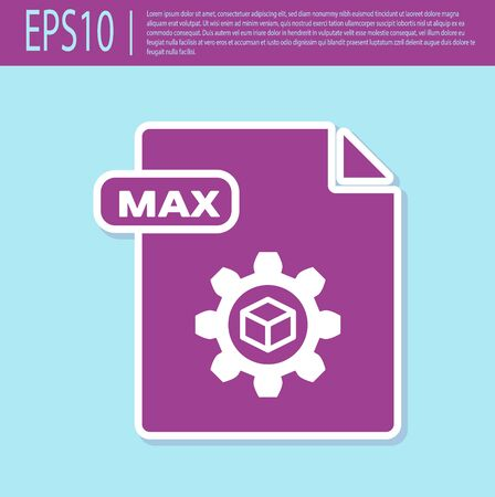 Retro purple MAX file document. Download max button icon isolated on turquoise background. MAX file symbol. Vector Illustration Stok Fotoğraf - 129496622