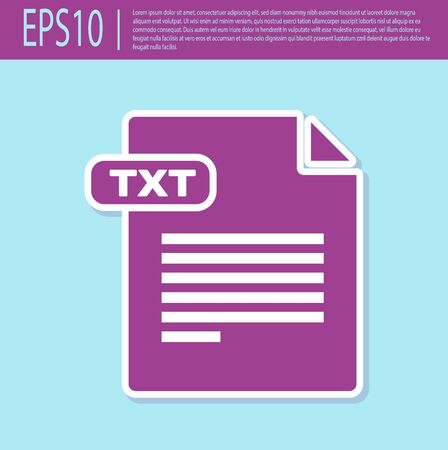 Retro purple TXT file document. Download txt button icon isolated on turquoise background. Text file extension symbol. Vector Illustration Stok Fotoğraf - 129496633