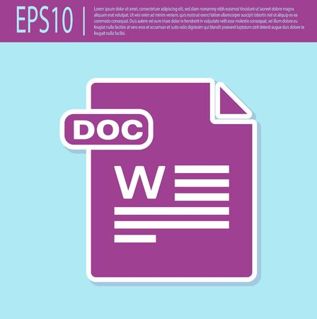 Retro purple DOC file document. Download doc button icon isolated on turquoise background. DOC file extension symbol. Vector Illustration Stok Fotoğraf - 129496634