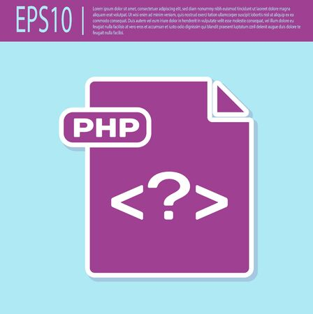 Retro purple PHP file document. Download php button icon isolated on turquoise background. PHP file symbol. Vector Illustration Reklamní fotografie - 129496644