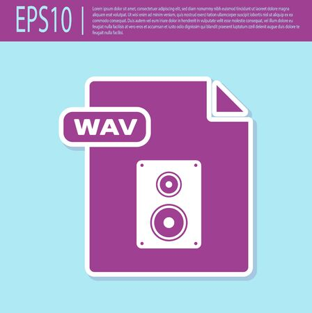 Retro purple WAV file document. Download wav button icon isolated on turquoise background. WAV waveform audio file format for digital audio riff files. Vector Illustration