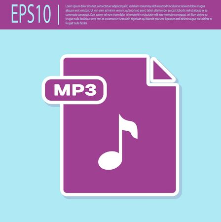 Retro purple MP3 file document. Download mp3 button icon isolated on turquoise background. Mp3 music format sign. MP3 file symbol. Vector Illustration