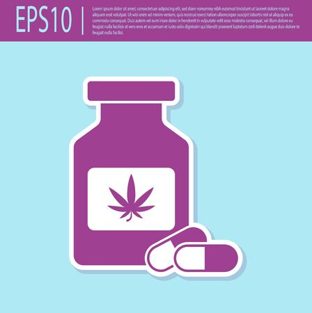 Retro purple Medical bottle with marijuana or cannabis leaf icon isolated on turquoise background. Mock up of cannabis oil extracts in jars. Vector Illustration Stock Illustratie