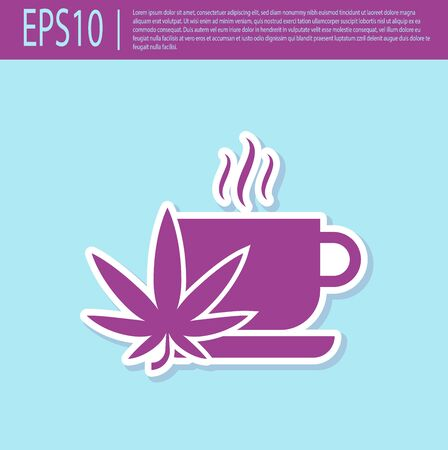 Retro purple Cup tea with marijuana or cannabis leaf icon isolated on turquoise background. Marijuana legalization. Hemp symbol. Vector Illustration Illustration