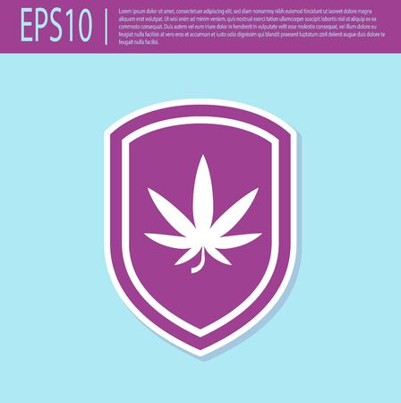 Retro purple Shield and marijuana or cannabis leaf icon isolated on turquoise background. Marijuana legalization. Hemp symbol. Vector Illustration Stock Illustratie
