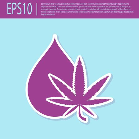 Retro purple Medical marijuana or cannabis leaf olive oil drop icon isolated on turquoise background. Cannabis extract. Hemp symbol. Vector Illustration