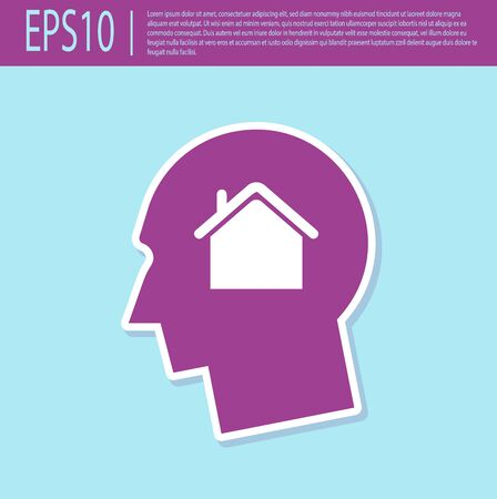 Retro purple Man dreaming about buying a new house icon isolated on turquoise background. Vector Illustration Illustration