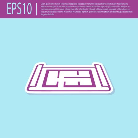 Retro purple House plan icon isolated on turquoise background. Vector Illustration Banque d'images - 129499412