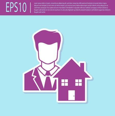 Retro purple Realtor icon isolated on turquoise background. Buying house. Vector Illustration Illustration