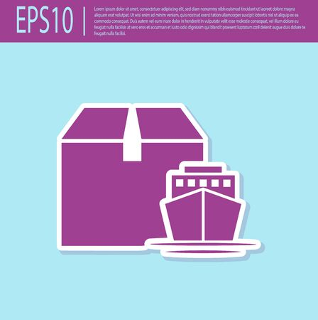 Retro purple Cargo ship with boxes delivery service icon isolated on turquoise background. Delivery, transportation. Freighter with parcels, boxes, goods. Vector Illustration