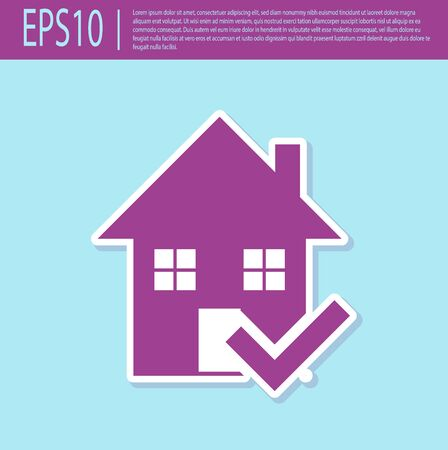 Retro purple House with check mark icon isolated on turquoise background. Real estate agency or cottage town elite class. Vector Illustration Stockfoto - 129499458