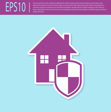 Retro purple House under protection icon isolated on turquoise background. Home and shield. Protection, safety, security, protect, defense concept. Vector Illustration Stockfoto - 129499460