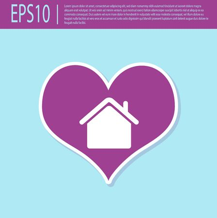 Retro purple House with heart shape icon isolated on turquoise background. Love home symbol. Family, real estate and realty. Vector Illustration Illustration