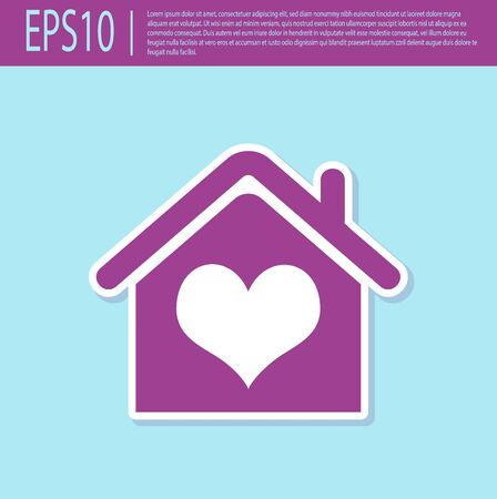 Retro purple House with heart shape icon isolated on turquoise background. Love home symbol. Family, real estate and realty. Vector Illustration Stockfoto - 129499478