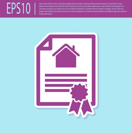 Retro purple House contract icon isolated on turquoise background. Contract creation service, document formation, application form composition. Vector Illustration Stock Illustratie