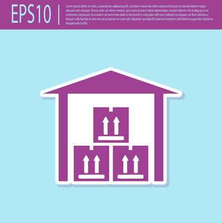 Retro purple Warehouse icon isolated on turquoise background. Vector Illustration