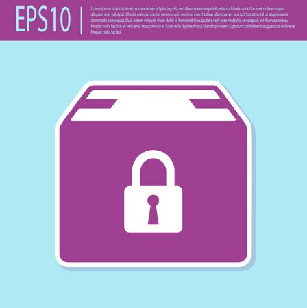 Retro purple Locked package icon isolated on turquoise background. Lock and cardboard box. Vector Illustration