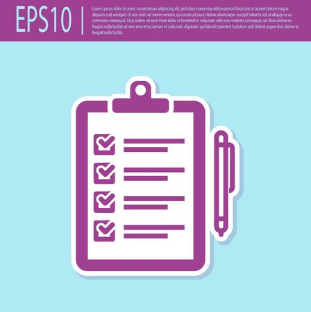 Retro purple Verification of delivery list clipboard and pen icon isolated on turquoise background. Vector Illustration