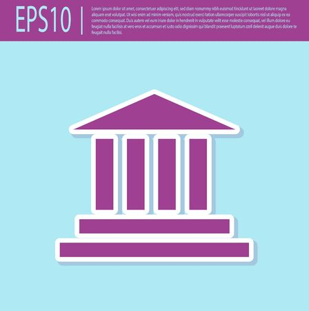 Retro purple Museum building icon isolated on turquoise background. Vector Illustration