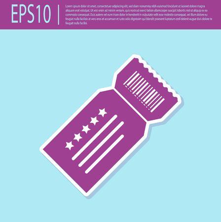 Retro purple Ticket icon isolated on turquoise background. Vector Illustration