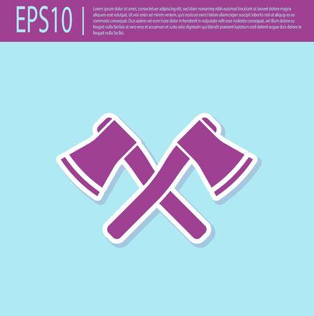 Retro purple Crossed wooden axe icon isolated on turquoise background. Lumberjack axe. Vector Illustration