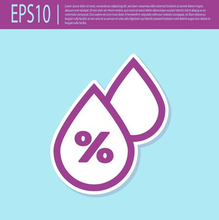 Retro purple Water drop percentage icon isolated on turquoise background. Humidity analysis. Vector Illustration