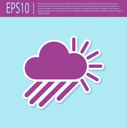 Retro purple Cloudy with rain and sun icon isolated on turquoise background. Rain cloud precipitation with rain drops. Vector Illustration