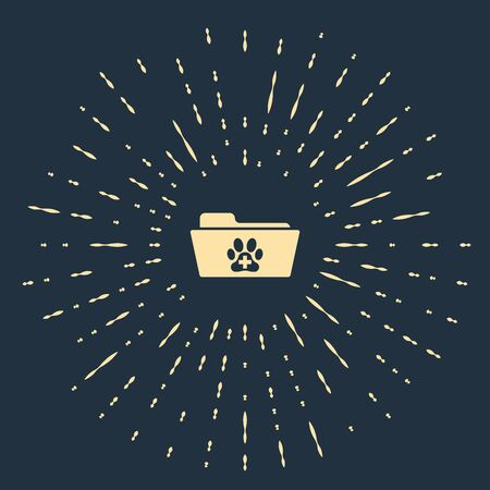 Beige Medical veterinary record folder icon isolated on dark blue background. Dog or cat paw print. Document for pet. Patient file icon. Abstract circle random dots. Vector Illustration  イラスト・ベクター素材