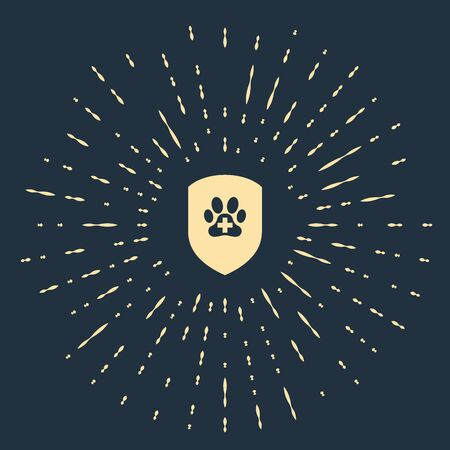 Beige Animal health insurance icon isolated on dark blue background. Pet protection icon. Dog or cat paw print. Abstract circle random dots. Vector Illustration Banque d'images - 129485884
