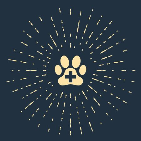 Beige Veterinary clinic symbol icon isolated on dark blue background. Cross hospital sign. A stylized paw print dog or cat. Pet First Aid sign. Abstract circle random dots. Vector Illustration