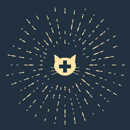 Beige Veterinary clinic symbol icon isolated on dark blue background. Cross with cat veterinary care. Pet First Aid sign. Abstract circle random dots. Vector Illustration Illusztráció