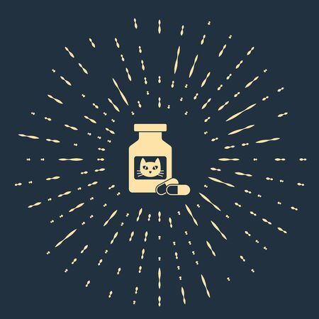Beige Cat medicine bottle and pills icon isolated on dark blue background. Container with pills. Prescription medicine for animal. Abstract circle random dots. Vector Illustration Stock Illustratie