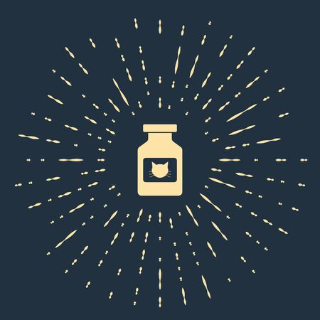 Beige Cat medicine bottle icon isolated on dark blue background. Container with pills. Prescription medicine for animal. Abstract circle random dots. Vector Illustration