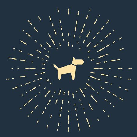 Beige Dog icon isolated on dark blue background. Abstract circle random dots. Vector Illustration Фото со стока - 129500803