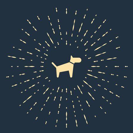 Beige Dog icon isolated on dark blue background. Abstract circle random dots. Vector Illustration Иллюстрация