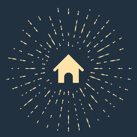 Beige Dog house icon isolated on dark blue background. Dog kennel. Abstract circle random dots. Vector Illustration