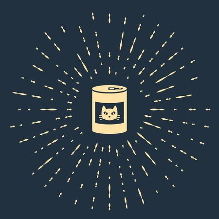 Beige Canned food for cat icon isolated on dark blue background. Food for animals. Pet dog food can. Abstract circle random dots. Vector Illustration
