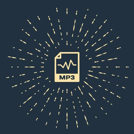 Beige MP3 file document. Download mp3 button icon isolated on dark blue background. Mp3 music format sign. MP3 file symbol. Abstract circle random dots. Vector Illustration