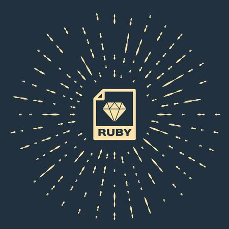 Beige RUBY file document. Download ruby button icon isolated on dark blue background. RUBY file symbol. Abstract circle random dots. Vector Illustration