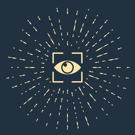 Beige Eye scan icon isolated on dark blue background. Scanning eye. Security check symbol. Cyber eye sign. Abstract circle random dots. Vector Illustration