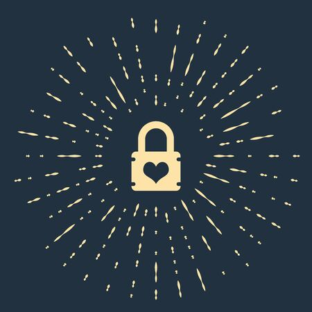 Beige Padlock with heart icon isolated on dark blue background. Locked Heart. Love symbol and keyhole sign. Abstract circle random dots. Vector Illustration Ilustracja