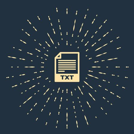 Beige TXT file document. Download txt button icon isolated on dark blue background. Text file extension symbol. Abstract circle random dots. Vector Illustration Çizim