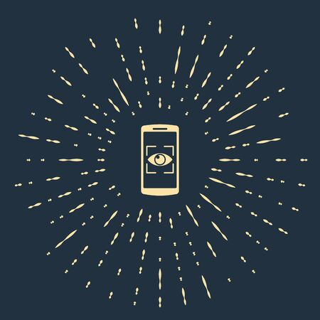 Beige Mobile phone and eye scan icon isolated on dark blue background. Scanning eye. Security check symbol. Cyber eye sign. Abstract circle random dots. Vector Illustration
