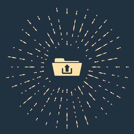 Beige Folder upload icon isolated on dark blue background. Abstract circle random dots. Vector Illustration
