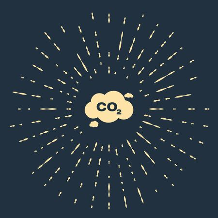 Beige CO2 emissions in cloud icon isolated on dark blue background. Carbon dioxide formula symbol, smog pollution concept, environment concept. Abstract circle random dots. Vector Illustration
